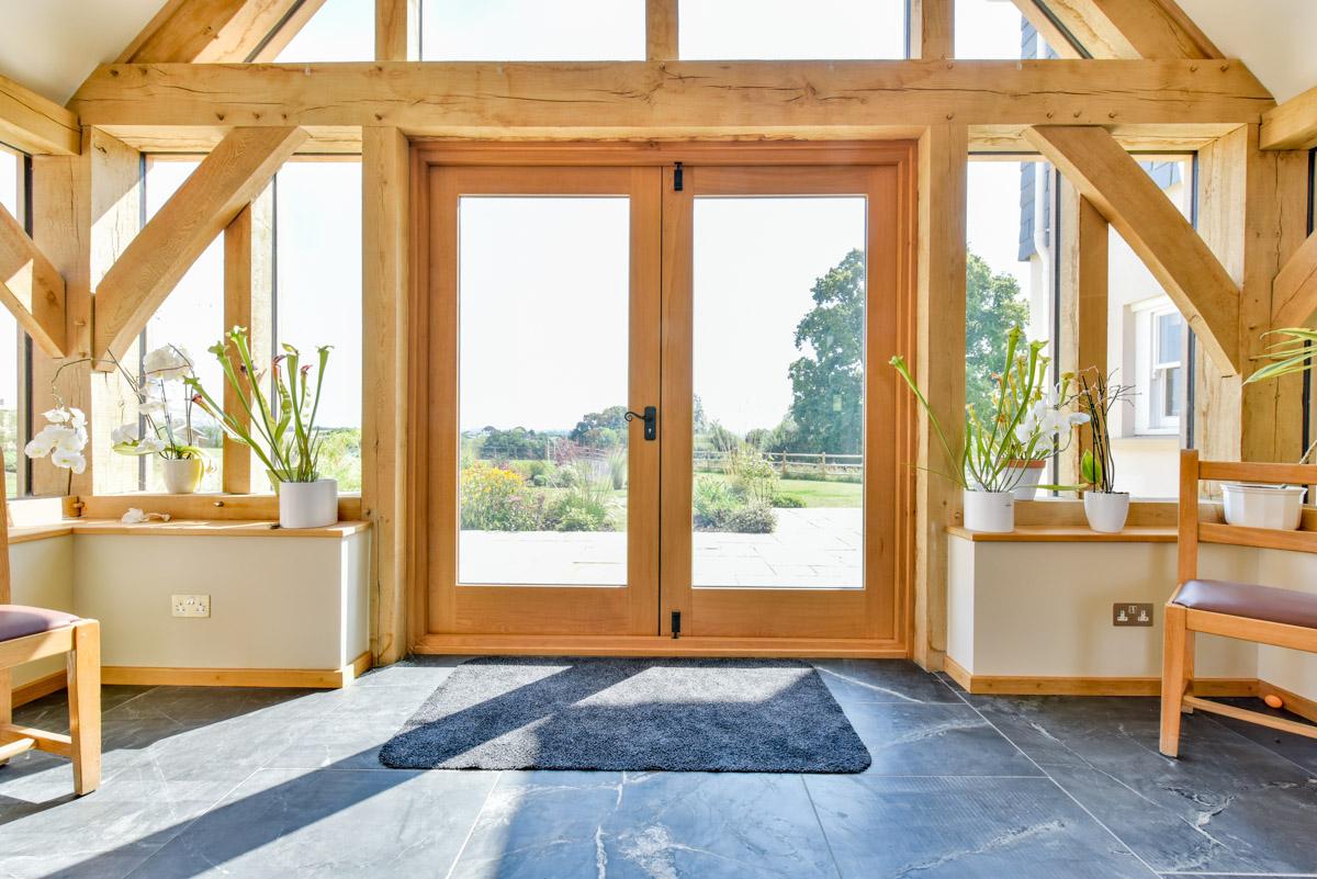 Internal view of a bespoke timber framed building hand built in Somerset