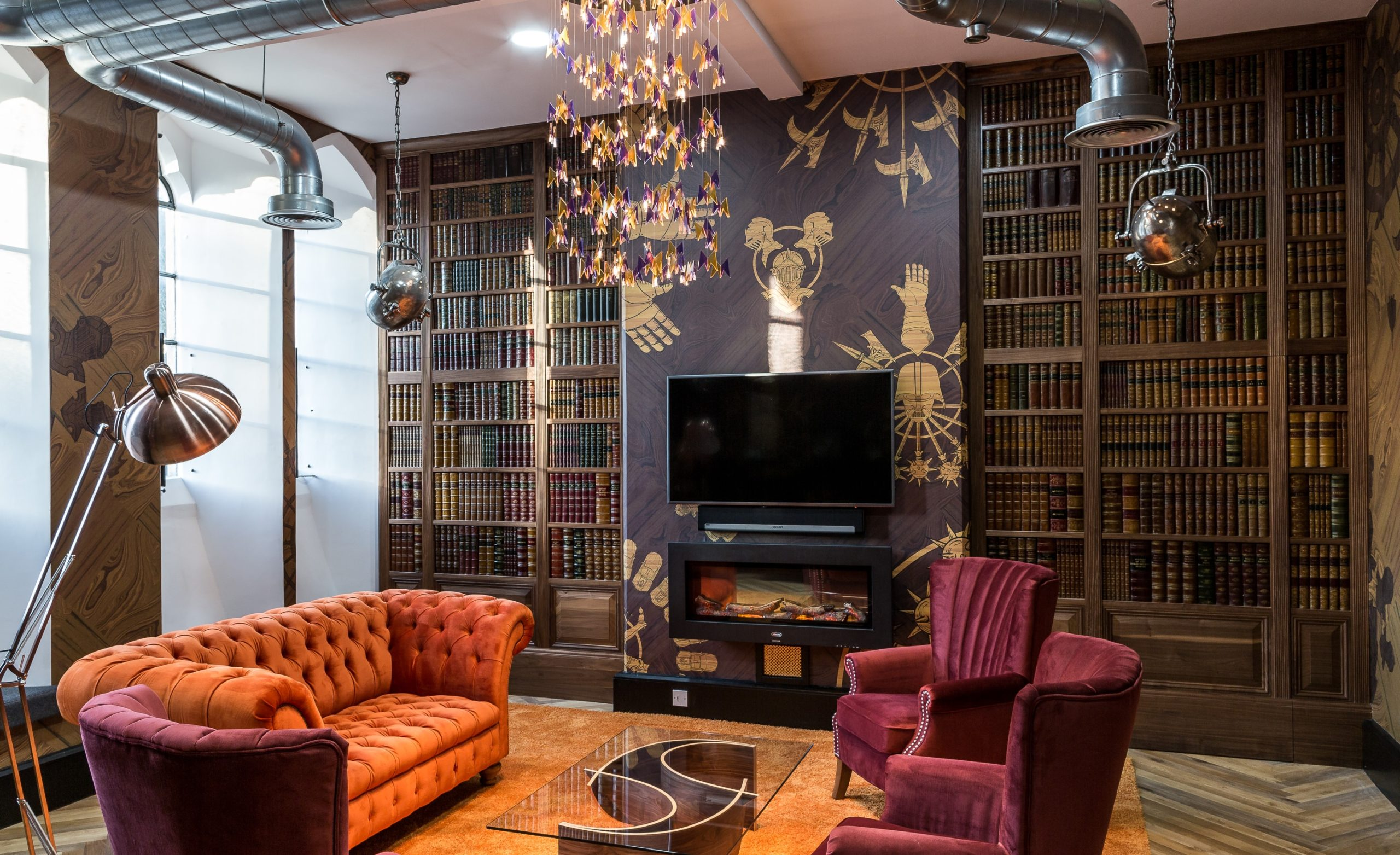 A faux library built for a bespoke commercial joinery project, hand made in our South West workshops