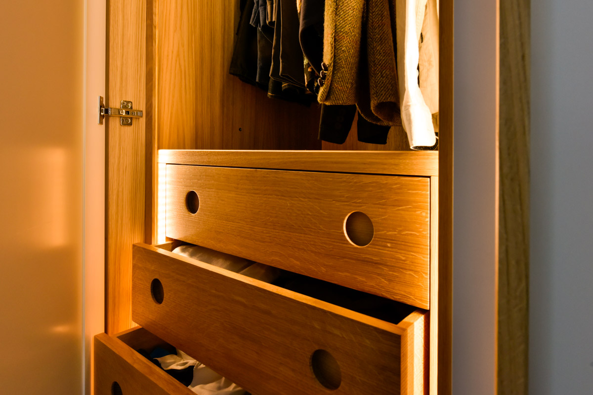 Internal drawers of bespoke fitted furniture designed and built in somerset